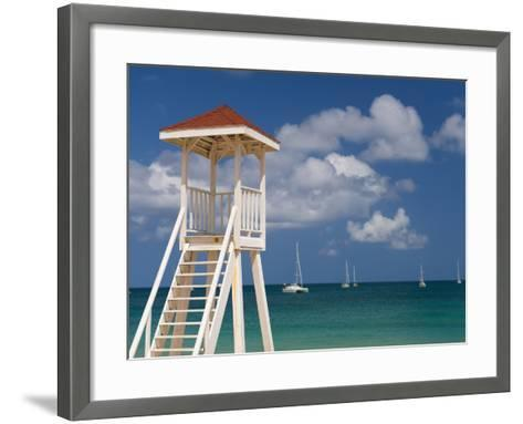 Caribbean, St Lucia, Gros Islet, Rodney Bay, Reduit Beach, Life Guard Lookout-Alan Copson-Framed Art Print