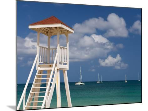 Caribbean, St Lucia, Gros Islet, Rodney Bay, Reduit Beach, Life Guard Lookout-Alan Copson-Mounted Photographic Print