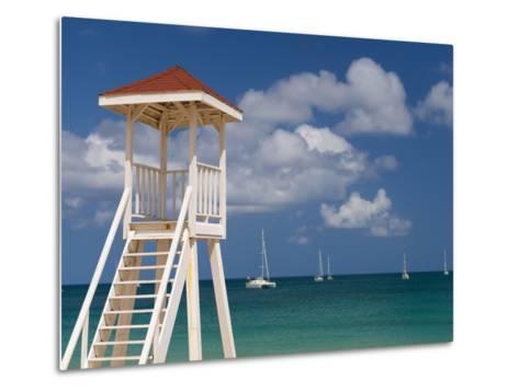 Caribbean, St Lucia, Gros Islet, Rodney Bay, Reduit Beach, Life Guard Lookout-Alan Copson-Metal Print
