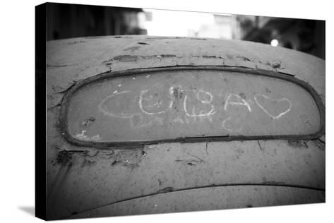 Cuba' Drawn in the Dirt on a Rear Windscreen of Old Car, Habana Vieja, Havana, Cuba-Jon Arnold-Stretched Canvas Print