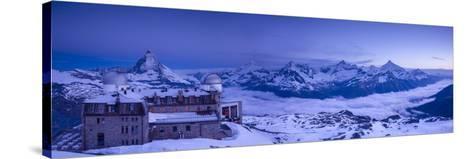 Gornergrat Kulm Hotel and Matterhorn, Zermatt, Valais, Switzerland-Jon Arnold-Stretched Canvas Print