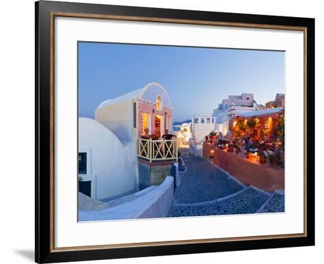 Restaurants in the Village of Oia, Santorini, Cyclades Islands, Aegean Sea, Greece, Europe-Gavin Hellier-Framed Art Print