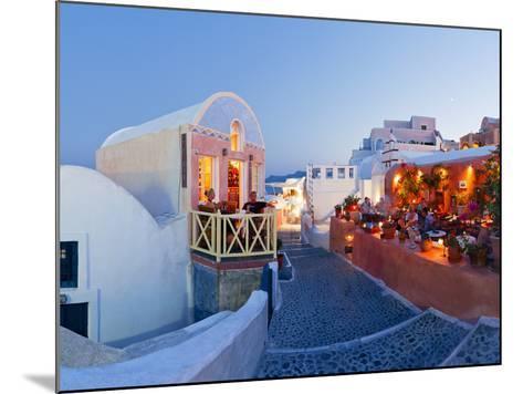 Restaurants in the Village of Oia, Santorini, Cyclades Islands, Aegean Sea, Greece, Europe-Gavin Hellier-Mounted Photographic Print