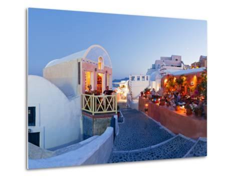Restaurants in the Village of Oia, Santorini, Cyclades Islands, Aegean Sea, Greece, Europe-Gavin Hellier-Metal Print