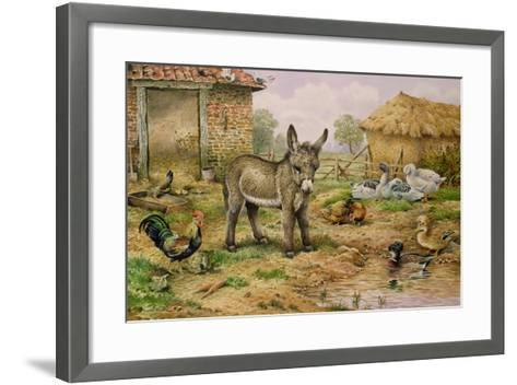 Donkey and Farmyard Fowl-Carl Donner-Framed Art Print