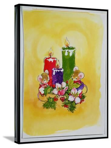 Mice with Candles-Diane Matthes-Stretched Canvas Print