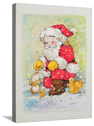 Father Christmas with Animals-Diane Matthes-Stretched Canvas Print