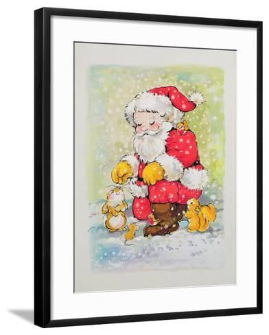 Father Christmas with Animals-Diane Matthes-Framed Art Print