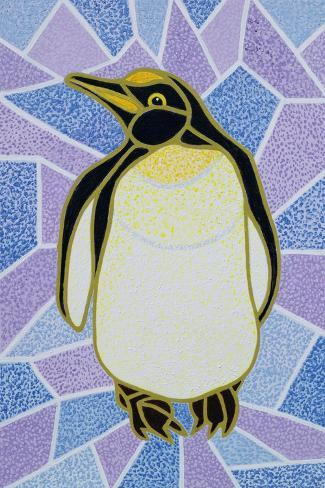 Penguin on Stained Glass-Pat Scott-Stretched Canvas Print