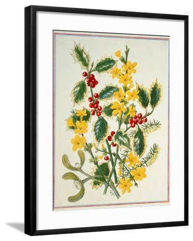 Holly, Winter Jasmine, Heath and Mistletoe-Ursula Hodgson-Framed Art Print