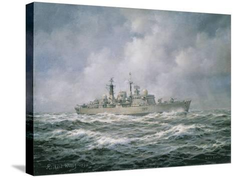 """H.M.S. """"Exeter"""" at Sea, 1990-Richard Willis-Stretched Canvas Print"""