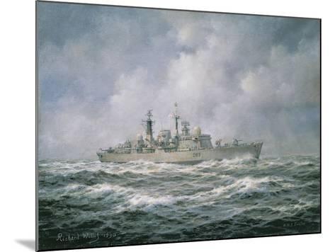 "H.M.S. ""Exeter"" at Sea, 1990-Richard Willis-Mounted Giclee Print"