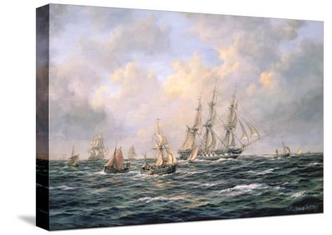 Convoy of East Indiamen Amid Fishing Boats-Richard Willis-Stretched Canvas Print