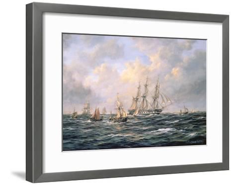 Convoy of East Indiamen Amid Fishing Boats-Richard Willis-Framed Art Print