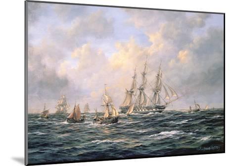 Convoy of East Indiamen Amid Fishing Boats-Richard Willis-Mounted Giclee Print