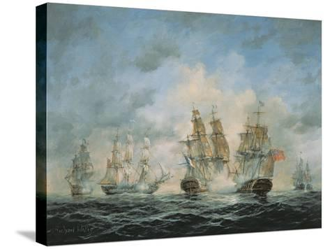 19th Century Naval Engagement in Home Waters-Richard Willis-Stretched Canvas Print