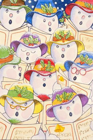 Singing Snowmen, 1997-Tony Todd-Stretched Canvas Print