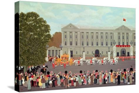 State Coach Leaving Buckingham Palace-Vincent Haddelsey-Stretched Canvas Print