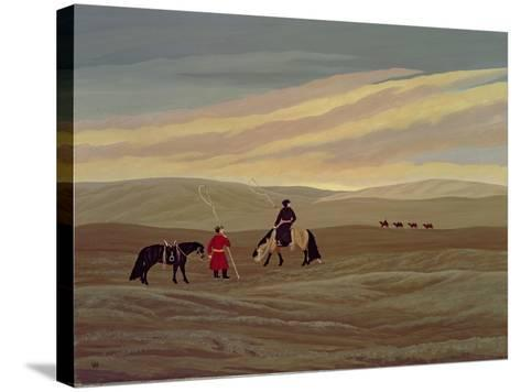 Herding Camel Train, Inner Mongolia-Vincent Haddelsey-Stretched Canvas Print