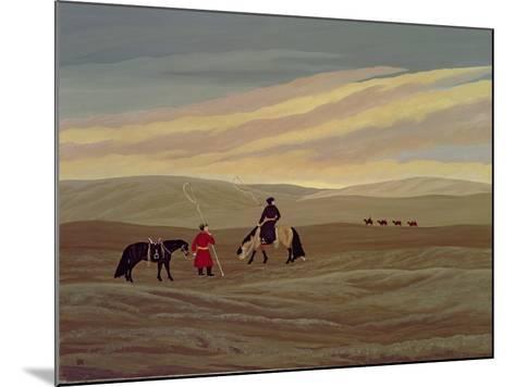 Herding Camel Train, Inner Mongolia-Vincent Haddelsey-Mounted Giclee Print