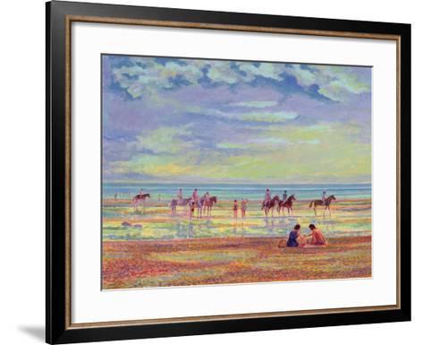 Ponies on Ferring Beach-Robert Tyndall-Framed Art Print