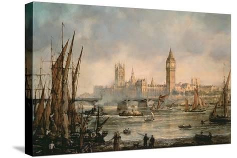 View of the Houses of Parliament from the River Thames-Richard Willis-Stretched Canvas Print
