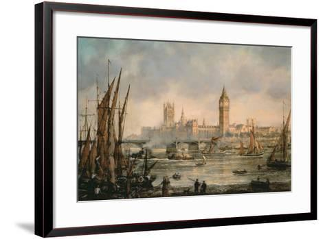 View of the Houses of Parliament from the River Thames-Richard Willis-Framed Art Print