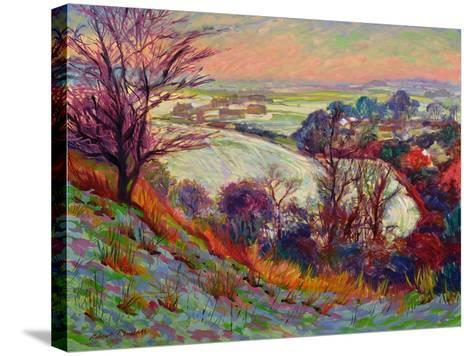 The Downs in Winter-Robert Tyndall-Stretched Canvas Print