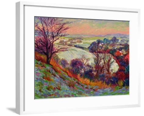 The Downs in Winter-Robert Tyndall-Framed Art Print