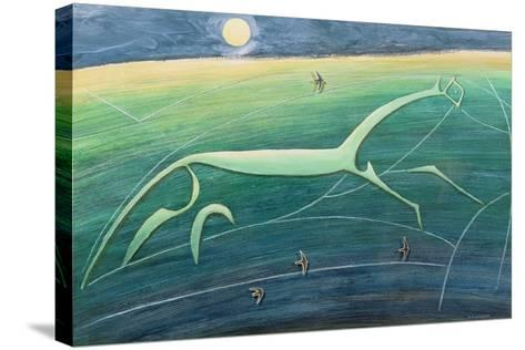 White Horse Hill, Uffington, 1992-Evangeline Dickson-Stretched Canvas Print