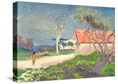Sketch at Martigues-Augustus Edwin John-Stretched Canvas Print