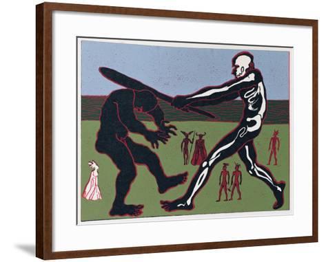 Giant Fafner Kills Fasolt and Takes Gold: Illustration for 'Das Rheingold'-Phil Redford-Framed Art Print