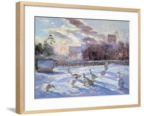 Winter Geese in Church Meadow-Timothy Easton-Framed Art Print