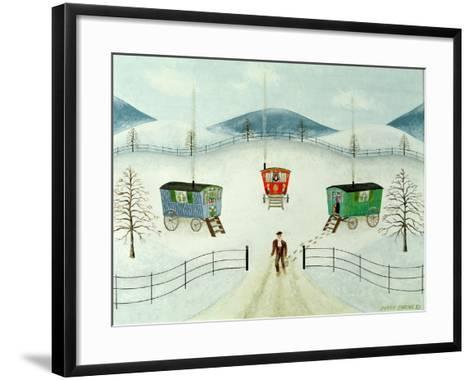Gypsy Caravans in the Snow, 1981-Mark Baring-Framed Art Print