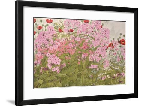Pink Phlox and Poppies with a Butterfly-Linda Benton-Framed Art Print