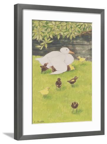 Mother Duck with Ducklings-Linda Benton-Framed Art Print