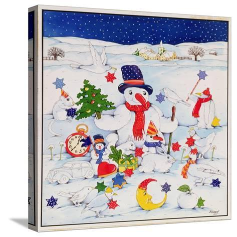 Snowman and Friends-Christian Kaempf-Stretched Canvas Print
