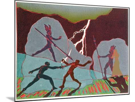 In Fight Wotan Intervenes Shattering Notung; Hunding Kills Siegmund: Illustration for 'Die Walkure'-Phil Redford-Mounted Giclee Print