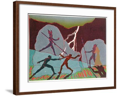 In Fight Wotan Intervenes Shattering Notung; Hunding Kills Siegmund: Illustration for 'Die Walkure'-Phil Redford-Framed Art Print