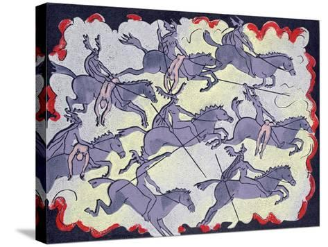 """Ride of Valkyries, Wotan's Warrior Daughters; """"Hoyotoho!"""": Illustration for 'Die Walkure'-Phil Redford-Stretched Canvas Print"""