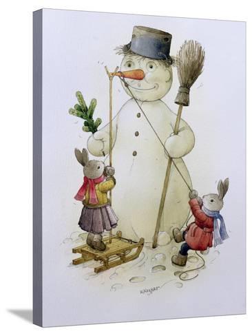 Snowman and Hares, 1999-Kestutis Kasparavicius-Stretched Canvas Print