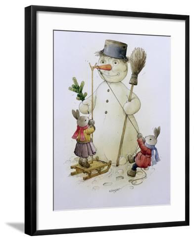 Snowman and Hares, 1999-Kestutis Kasparavicius-Framed Art Print