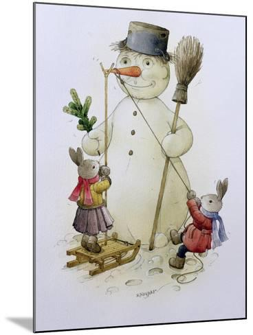 Snowman and Hares, 1999-Kestutis Kasparavicius-Mounted Giclee Print