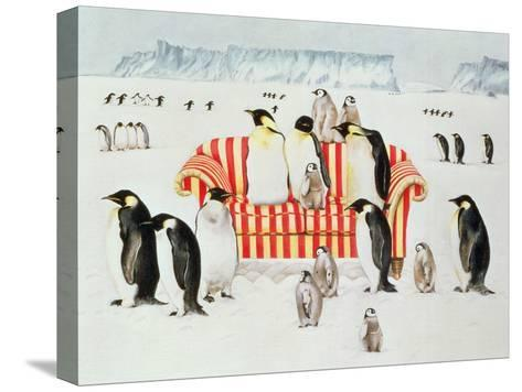 Penguins on a Red and White Sofa, 1994-E.B. Watts-Stretched Canvas Print