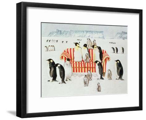 Penguins on a Red and White Sofa, 1994-E.B. Watts-Framed Art Print
