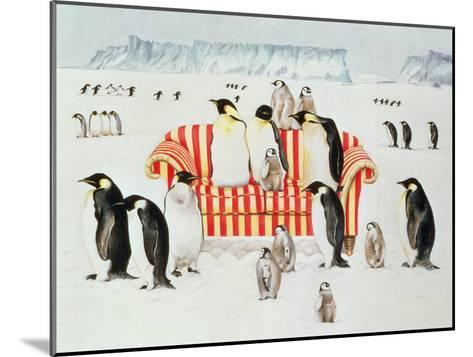 Penguins on a Red and White Sofa, 1994-E.B. Watts-Mounted Giclee Print