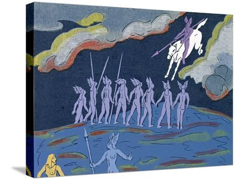 Wotan Arrives in Pursuit, Brunnhilde Sends Sieglinde to Safety: Illustration for 'Die Walkure'-Phil Redford-Stretched Canvas Print