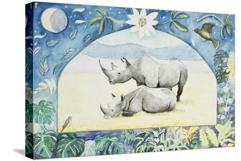 Rhino (Month of February from a Calendar)-Vivika Alexander-Stretched Canvas Print