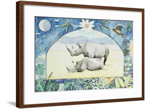 Rhino (Month of February from a Calendar)-Vivika Alexander-Framed Art Print