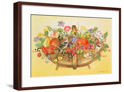 Trug with Fruit, Flowers and Chaffinches, 1991-E.B. Watts-Framed Art Print